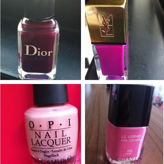 Da esquerda para a direita, de cima para baixo: Dior 981, Violine Surrealista, YSL, Dulce de Leche, OPI e May, de Chanel. Quando um deles acabar ou sair de linha, não sei o que vou fazer!