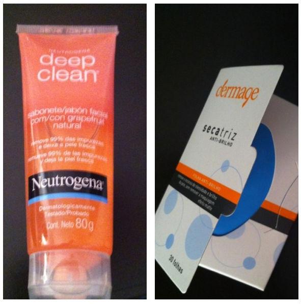 O Neutrogena Deep Clean Grapefruit  tem beta-hidróxido que remove 99% das impureza e da oleosidade. E os lencinhos da Dermage eliminam o brilho sem mover o make.