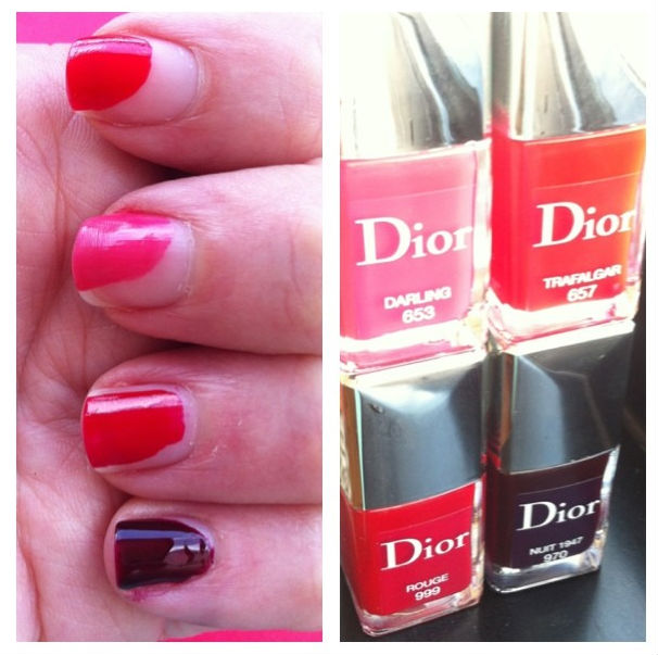Tem a mítica coleção de Dior, que quase me fez parar no meio do trânsito para experimentar um por um... O Nuit, mais escuro, vai para os meus pés em breve. E o Trafalgar, coral magnético, para as mãos...